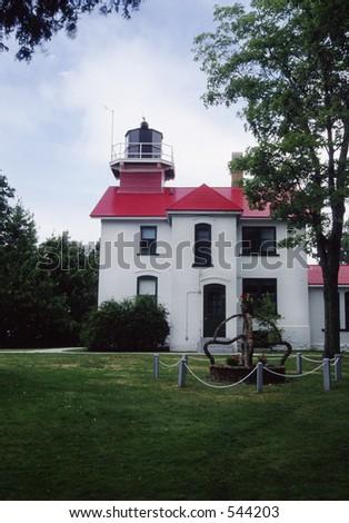 Grand Traverse Lighthouse near Traverse City, Michigan. - stock photo