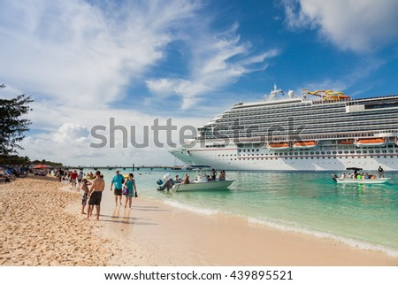 "Grand Turk, Turk Islands Caribbean-31st March 2014: The cruise ship ""Carnival Breeze"" anchored on the beach of Grand Turk. - stock photo"