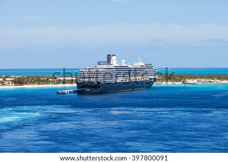"Grand Turk, Turk Islands Caribbean - 31st March 2014: The cruise ship ""Westerdam"" anchored on the beach of Grand Turk. - stock photo"