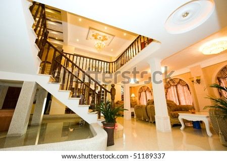 grand view of a luxury house, luxury house Grand Stairs. - stock photo
