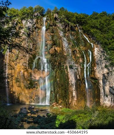 Grand view of Plitvice National Park, Croatia - the Big Waterfall - stock photo