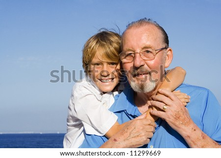 grandad and grandson - stock photo