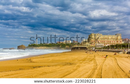 Grande Plage, a beach in Biarritz, France - stock photo