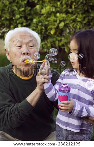 Grandfather and Girl Blowing Soap Bubbles - stock photo