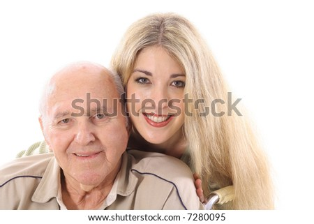 Grandfather and grand daughter love - stock photo