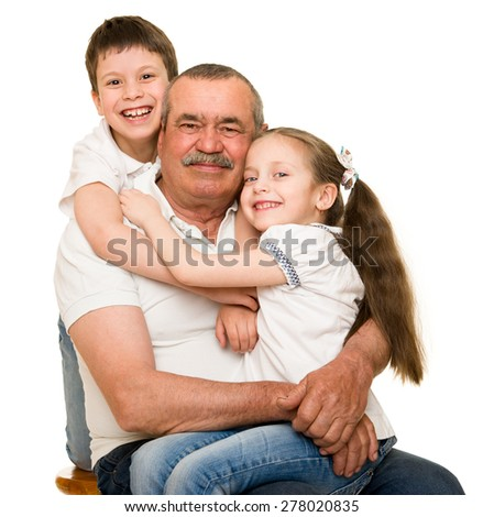 Grandfather and grandchildren portrait studio shoot - stock photo