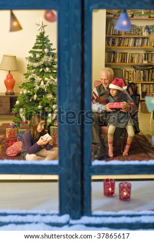 grandfather and granddaughter in Christmas celebration from a snowy window. - stock photo