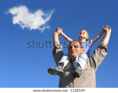 grandfather and grandson with cloud - stock photo