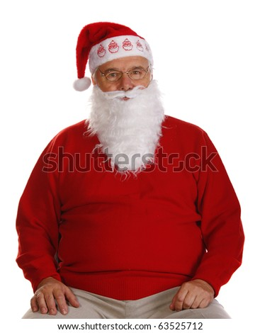 Grandfather as a Santa Claus. Isolated on white - stock photo