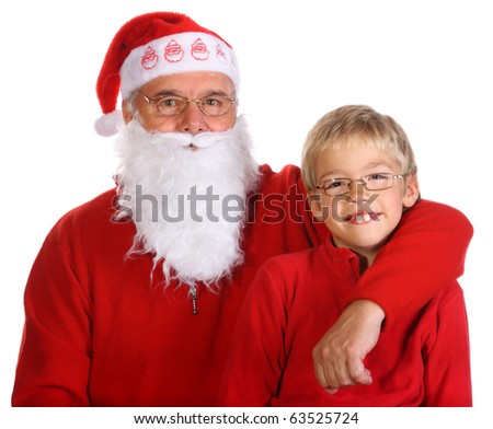 Grandfather as a Santa Claus with his grandson isolated