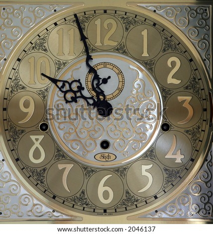 grandfather clockface - stock photo