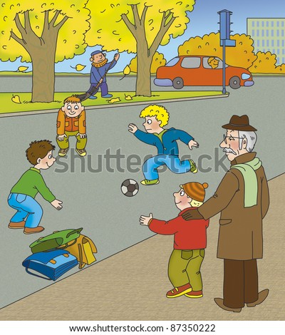 Grandfather explains to her grandson how dangerous it is to play on the road - stock photo