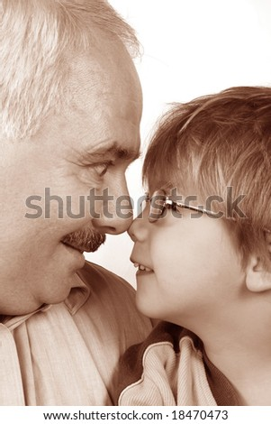 grandfather grandson forehead - stock photo