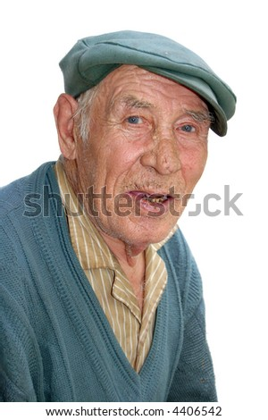 grandfather isolated on white - stock photo