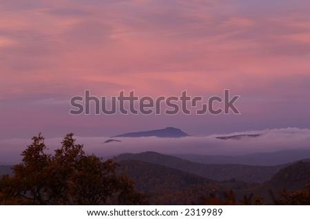 Grandfather Mountain North Carolina at Sunrise - stock photo