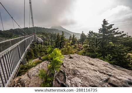 Grandfather Mountain Swinging Bridge in the mountains of North Carolina/ Grandfather Mountain Swinging Bridge