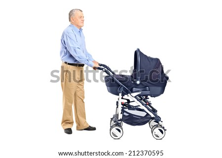Grandfather pushing a baby stroller isolated on white background