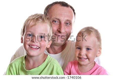 grandfather with children - stock photo