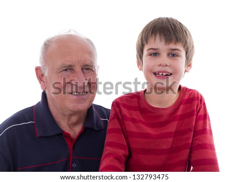 Grandfather with his grandson, isolated on white