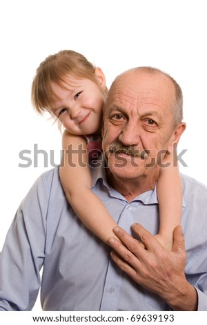 Grandfather with the granddaughter isolated on white background