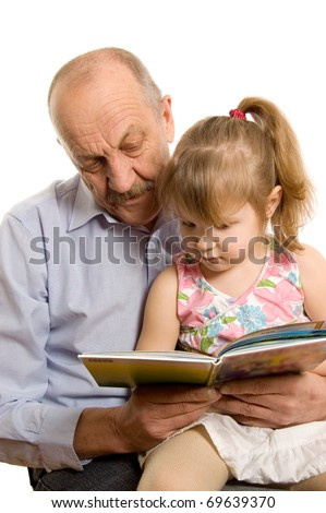 Grandfather with the granddaughter isolated on white background - stock photo