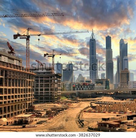 Grandiose construction in Dubai, the United Arab Emirates - stock photo