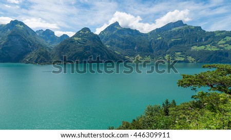 Grandiose mountain landscape for recreation and relaxation. Summer quiet day. Switzerland, Alps.