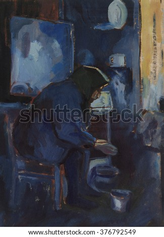 grandma in the kitchen, oil painting, blue color