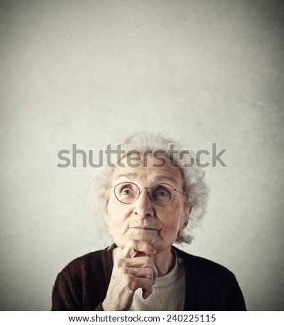 Grandma looking up  - stock photo