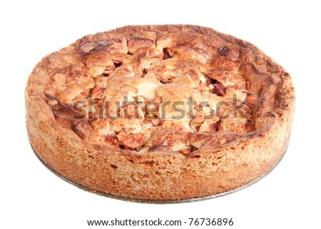 Grandma's homemade apple pie isolated on white - stock photo