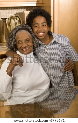 Grandmother and grand son
