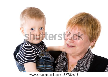 Grandmother and grandchild together isolated on white - stock photo