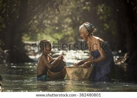 Grandmother and Grandchildren - stock photo
