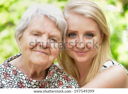 Grandmother and granddaughter. Happy family.  MANY OTHER PHOTOS FROM THIS SERIES IN MY PORTFOLIO.