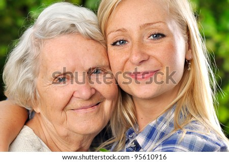 Grandmother and granddaughter. MANY OTHER PHOTOS WITH THESE MODELS IN MY PORTFOLIO.