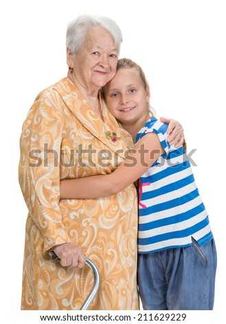 Grandmother and granddaughter on a white background - stock photo