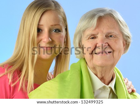 Grandmother and granddaughter, senior and young women. MANY OTHER PHOTOS FROM THIS SERIES IN MY PORTFOLIO.