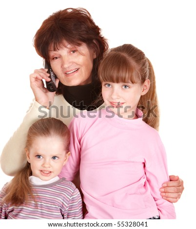 Grandmother and granddaughter talk on phone. Isolated.