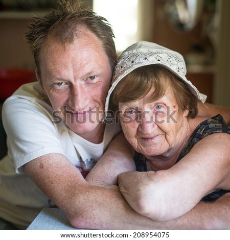 Grandmother and grandson. - stock photo