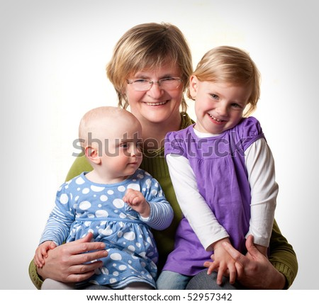 Grandmother and her Granddaughters - stock photo