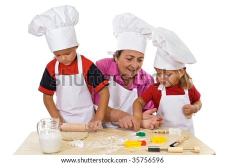 Grandmother and kids making cookies series - isolated