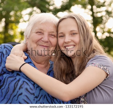 Grandmother and teenager girl Granddaughter