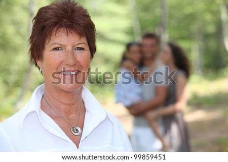 Grandmother enjoying a day out with her family