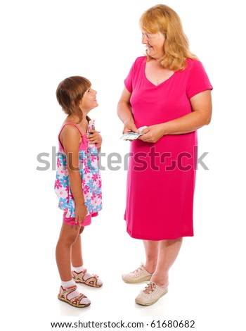 Grandmother giving money to child isolated on white - stock photo