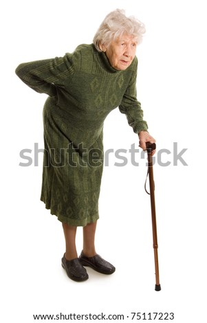 Grandmother holding a cane on white background - stock photo