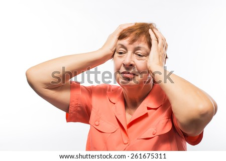grandmother of her hand on his head