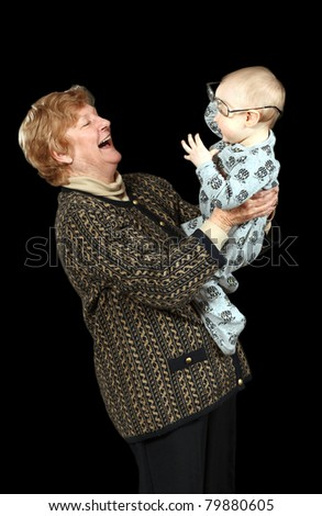 grandmother playing with her grandson
