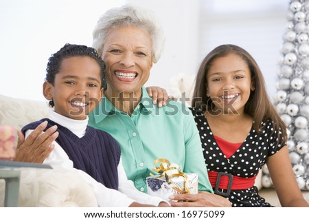 Grandmother Sitting With Her Two Grandchildren,Holding A Christmas Gift - stock photo