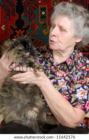 grandmother tell tales with kitty - stock photo