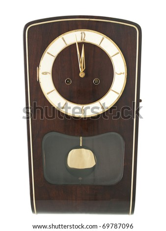 Grandmother wall clock on pure white background - stock photo